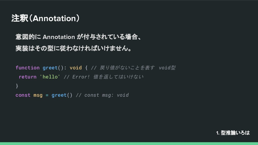 注釈(Annotation) function greet(): void { // 戻り値が...