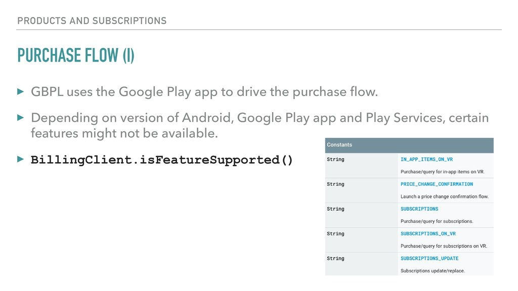 PURCHASE FLOW (I) ▸ GBPL uses the Google Play a...