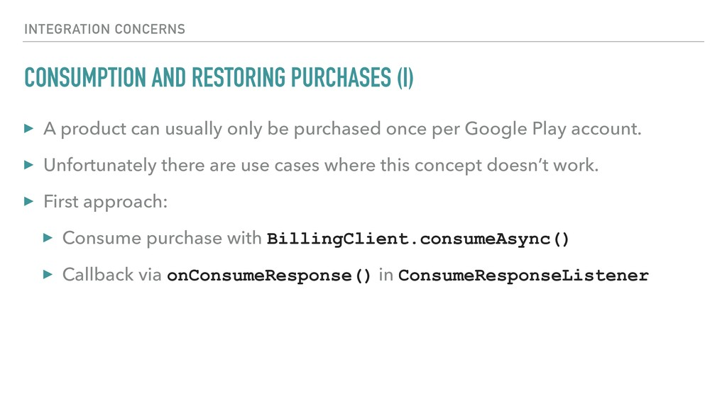 CONSUMPTION AND RESTORING PURCHASES (I) ▸ A pro...