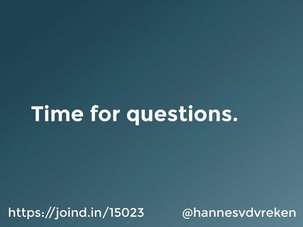 Time for questions. @hannesvdvreken https:/ /jo...
