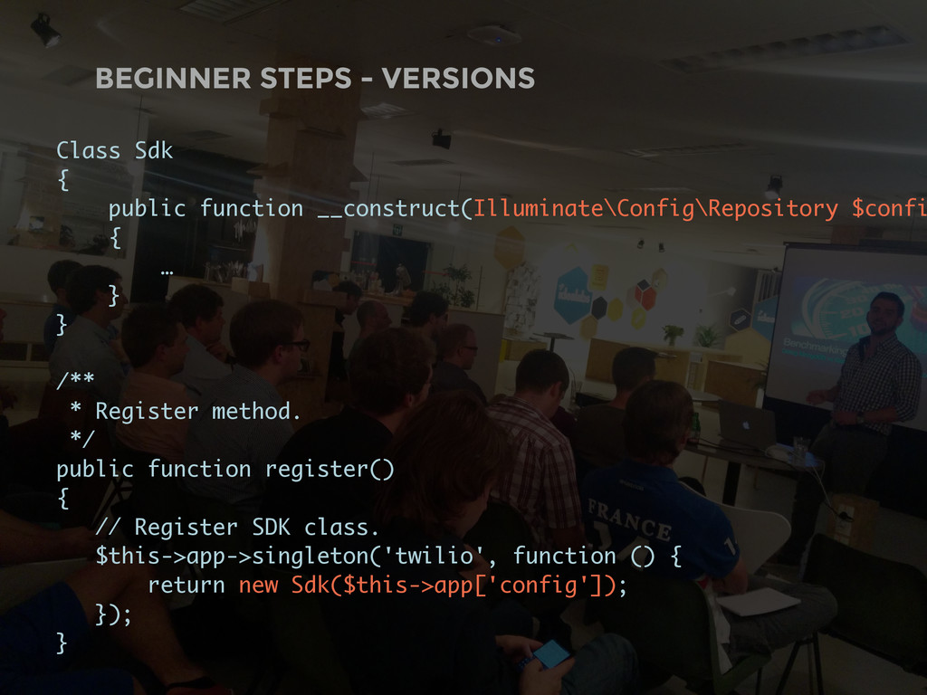 BEGINNER STEPS - VERSIONS Class Sdk { public fu...