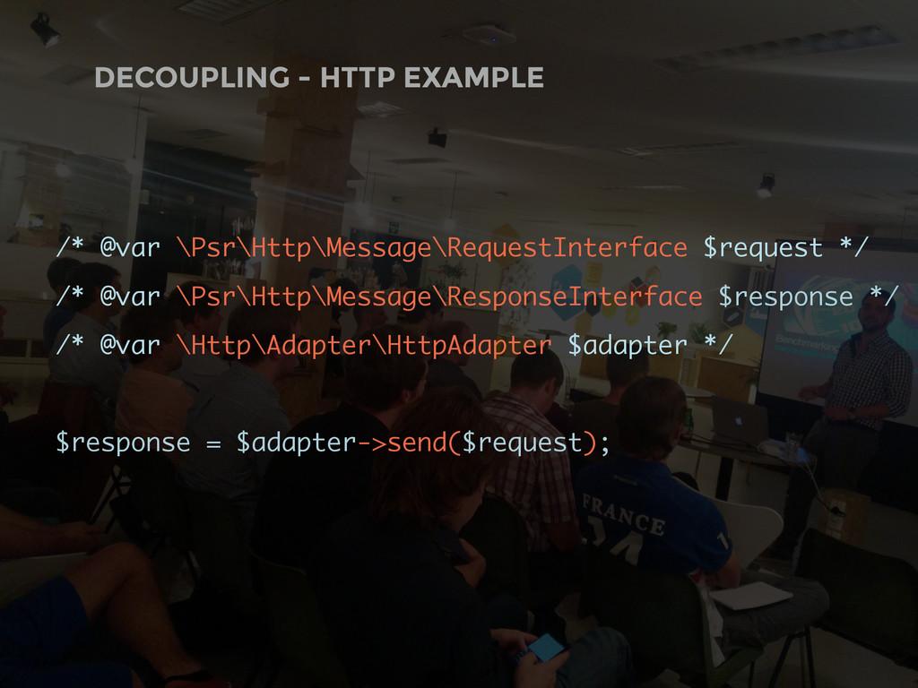 DECOUPLING - HTTP EXAMPLE /* @var \Psr\Http\Mes...