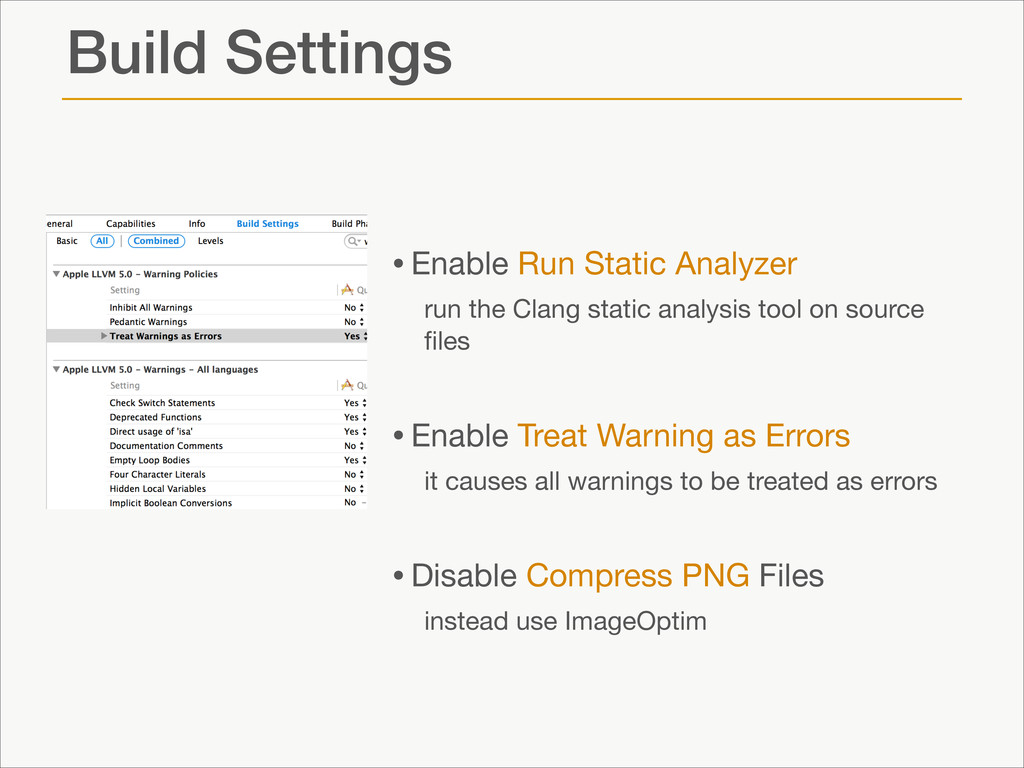 Build Settings •Enable Run Static Analyzer   ru...