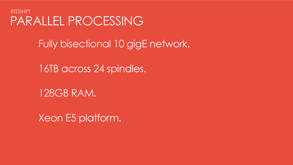 PARALLEL PROCESSING REDSHIFT Fully bisectional ...