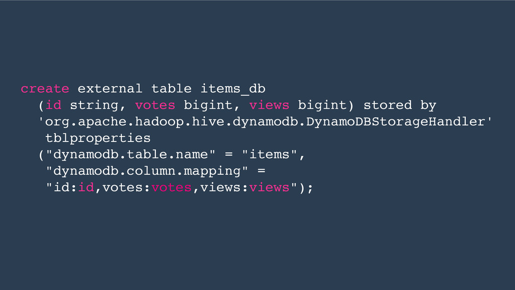 create external table items_db (id string, vote...