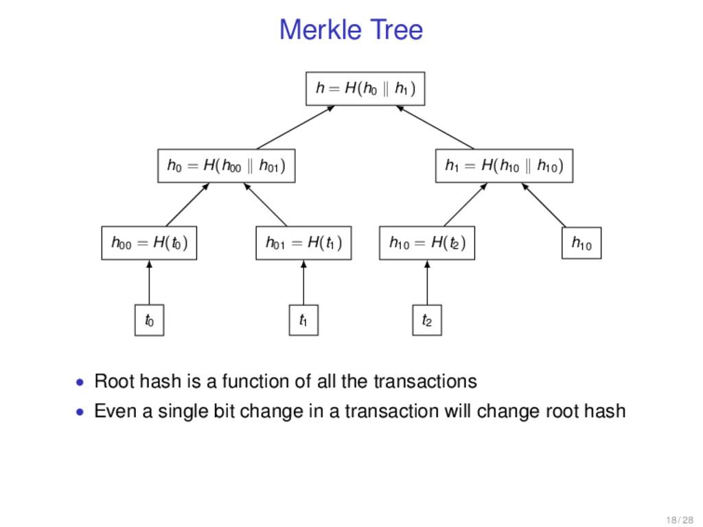 Merkle Tree h = H(h0 h1) h0 = H(h00 h01) h00 = ...