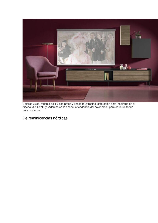 Colores vivos, mueble de TV con patas y líneas ...