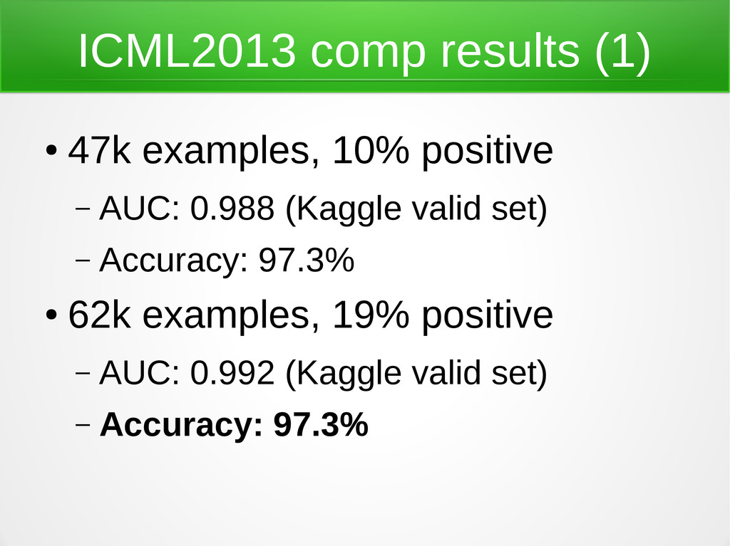 ICML2013 comp results (1) ● 47k examples, 10% p...