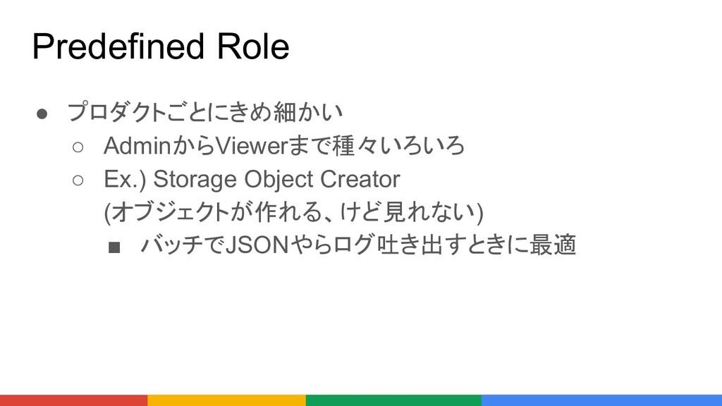Predefined Role ● プロダクトごとにきめ細かい ○ AdminからViewer...
