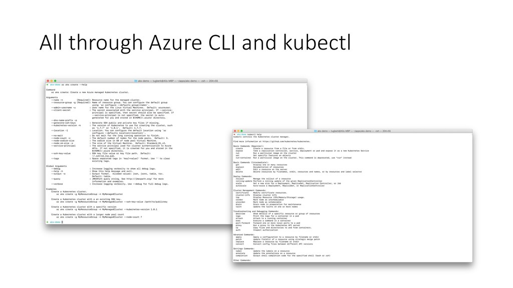 All through Azure CLI and kubectl