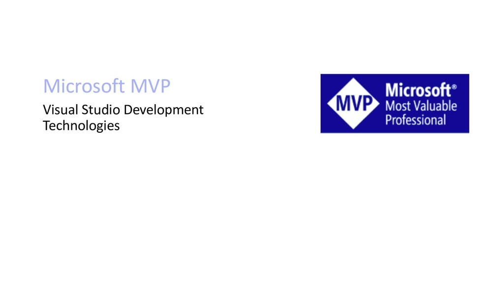 Microsoft MVP Visual Studio Development Technol...