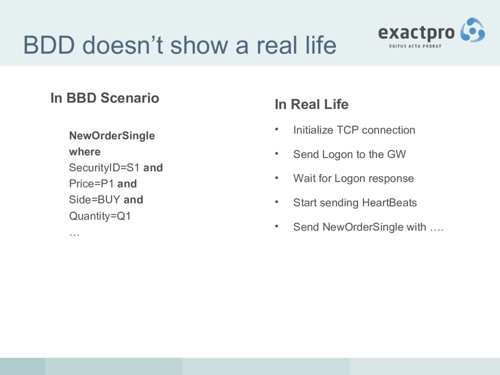 BDD doesn't show a real life In BBD Scenario Ne...