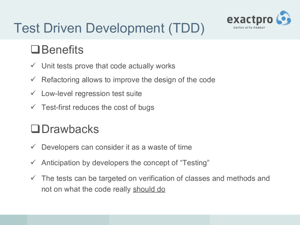 Test Driven Development (TDD) Benefits  Unit ...