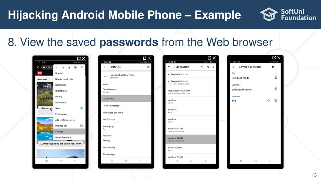 Hijacking Android Mobile Phone – Example 13 8. ...