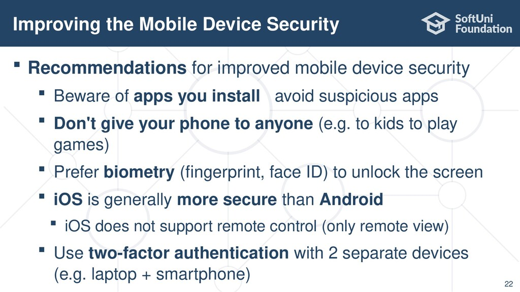  Recommendations for improved mobile device se...