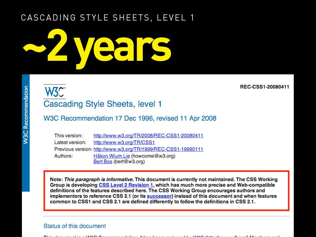 CASCADING STYLE SHEETS, LEVEL 1 ~2 years