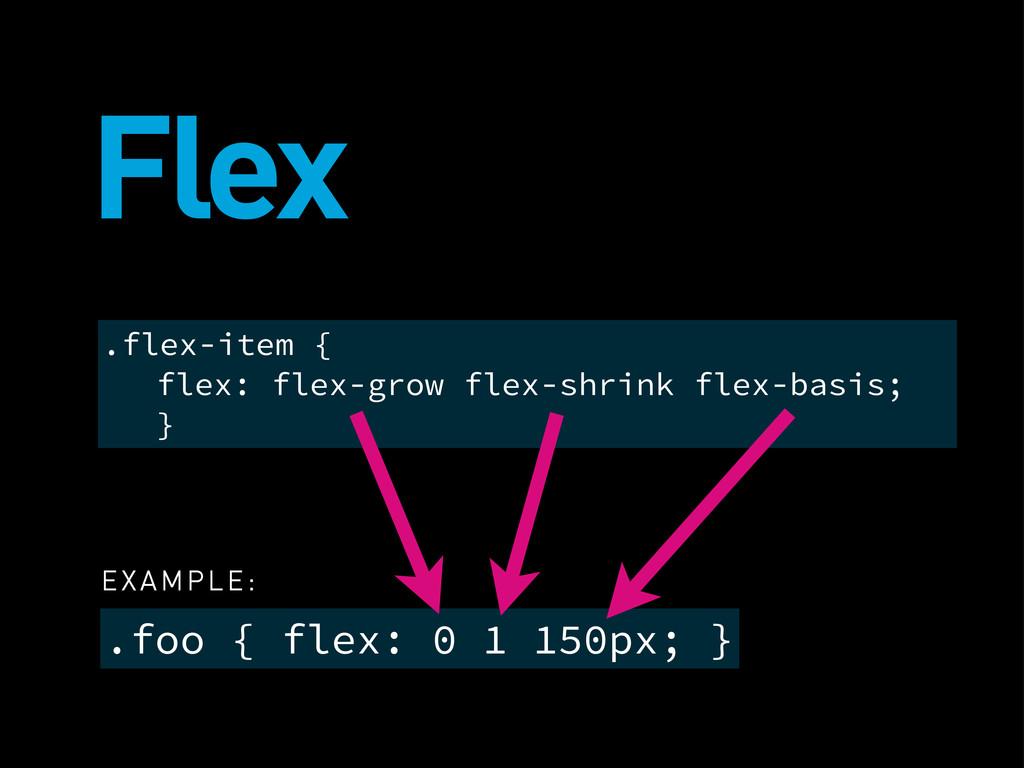 Flex .foo { flex: 0 1 150px; } .flex-item { fle...