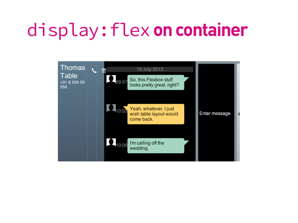 display:flex on container