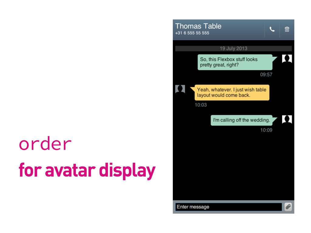 order for avatar display