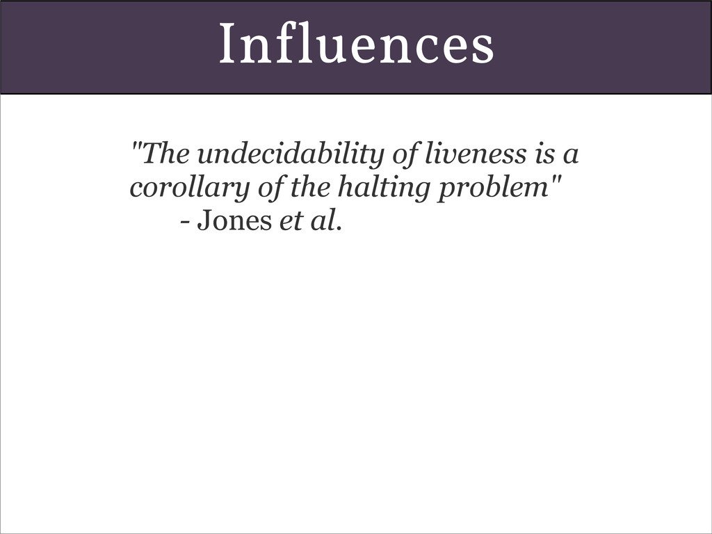 "In!luences ""The undecidability of liveness is a..."