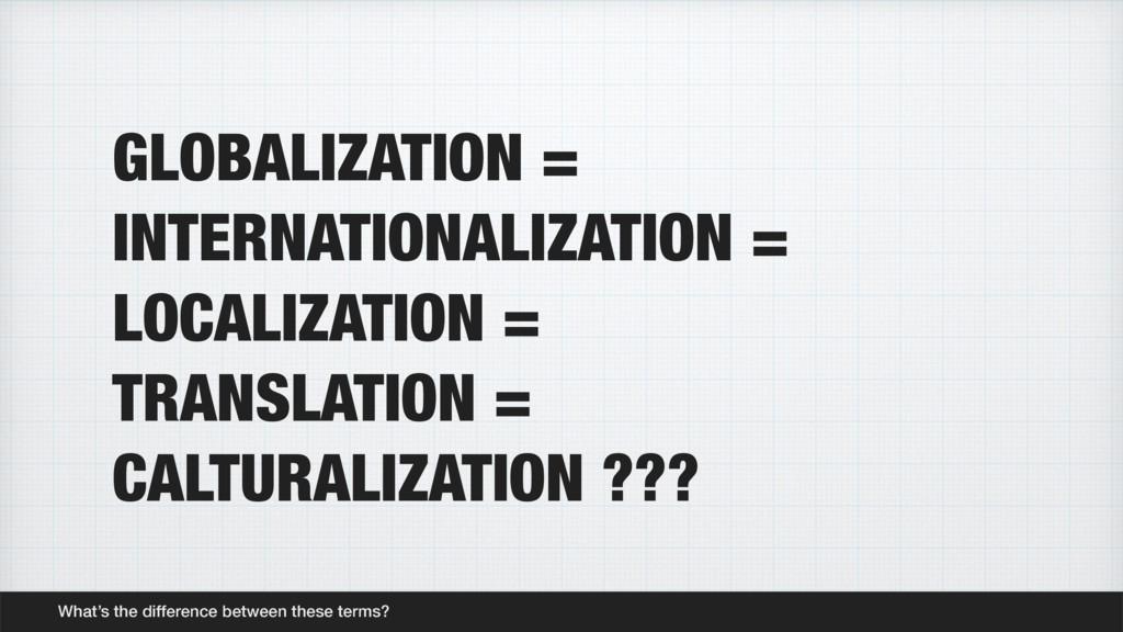 GLOBALIZATION = INTERNATIONALIZATION = LOCALIZA...