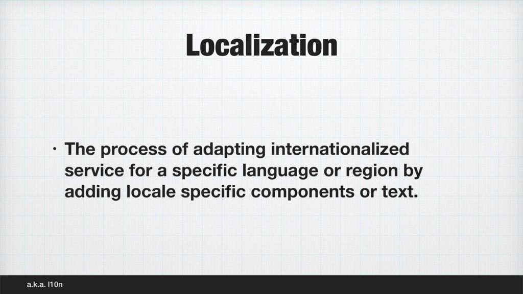 Localization • The process of adapting internat...