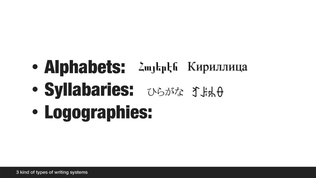 • Alphabets: • Syllabaries: • Logographies: 3 k...