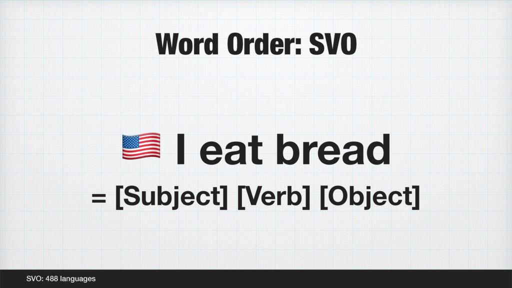 "Word Order: SVO SVO: 488 languages "" I eat brea..."