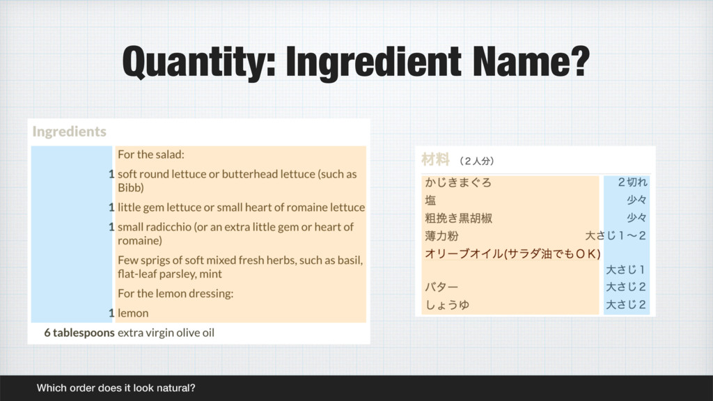 Quantity: Ingredient Name? Which order does it ...