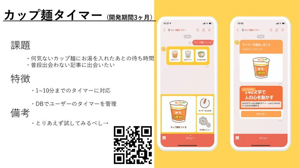 カップ麺タイマー (開発期間3ヶ⽉) ・とりあえず試してみるべし→ 課題 ・何気ないカップ麺に...