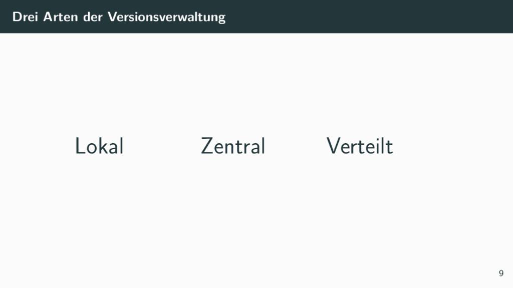 Drei Arten der Versionsverwaltung Lokal Zentral...