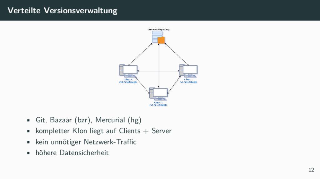 Verteilte Versionsverwaltung • Git, Bazaar (bzr...