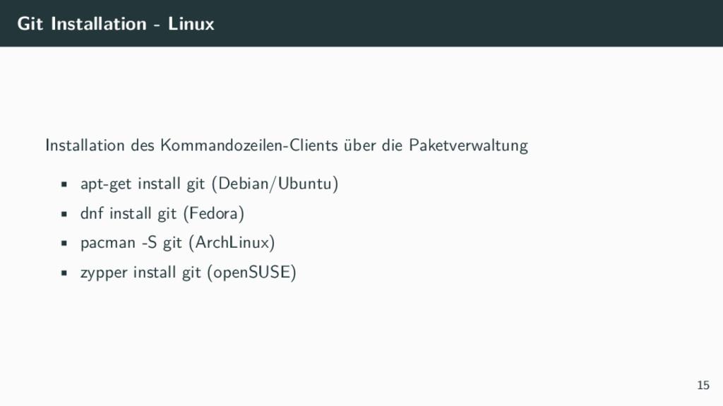 Git Installation - Linux Installation des Komma...