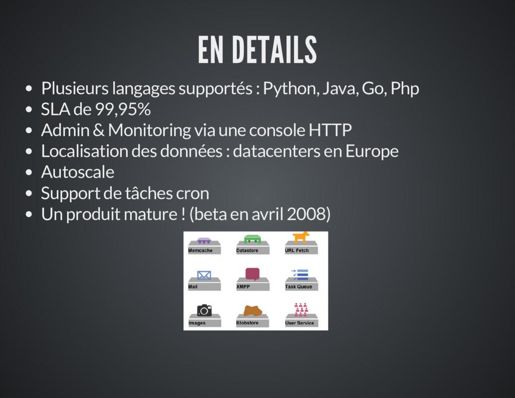 EN DETAILS Plusieurs langages supportés : Pytho...
