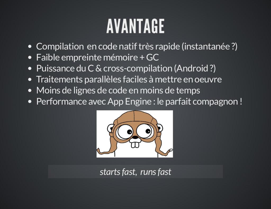 AVANTAGE Compilation en code natif très rapide ...