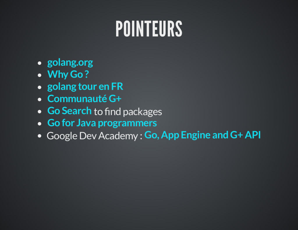 POINTEURS to nd packages Google Dev Academy : g...