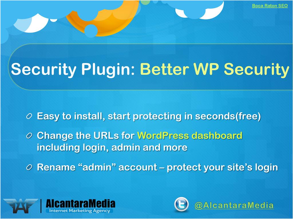 Boca Raton SEO Security Plugin: Better WP Secur...