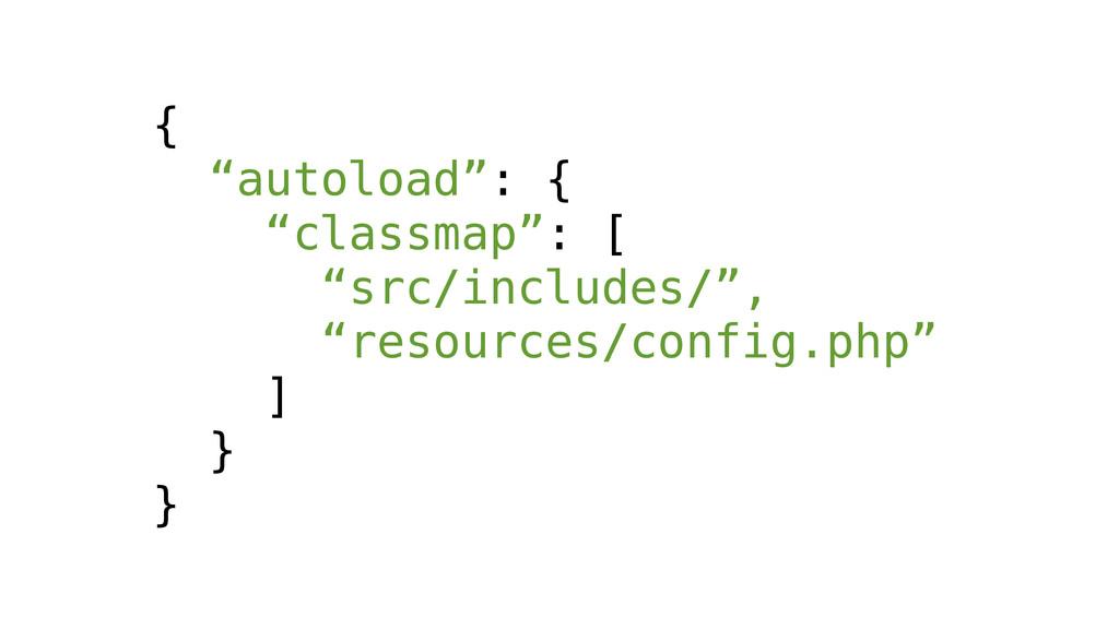 "{ ""autoload"": { ""classmap"": [ ""src/includes/"", ..."
