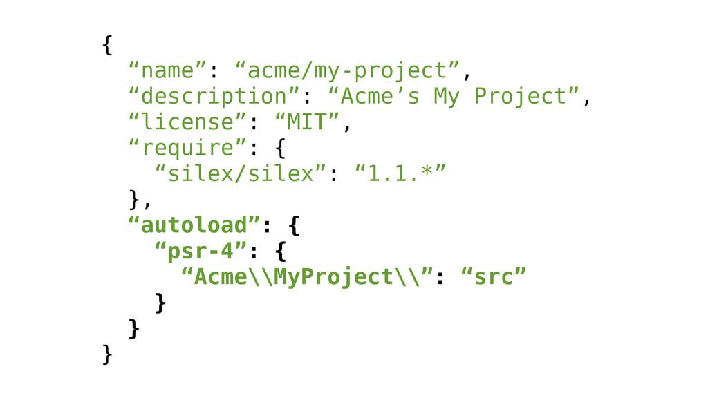 """{ """"name"""": """"acme/my-project"""", """"description"""": """"Ac..."""