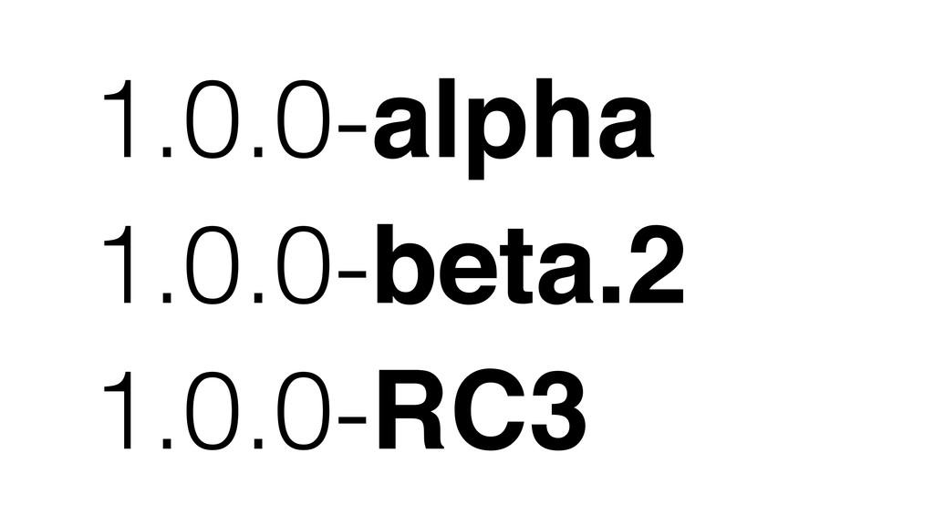 1.0.0-alpha 1.0.0-beta.2 1.0.0-RC3