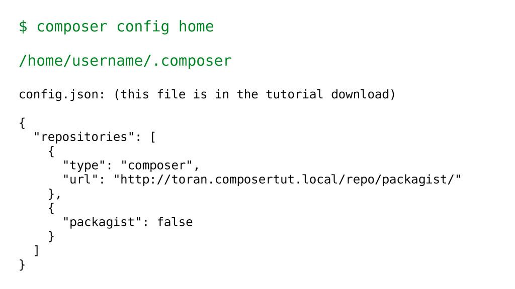 $ composer config home /home/username/.composer...