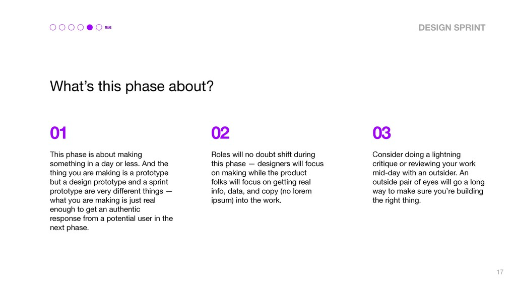 MAKE What's this phase about? 01 02 03 This pha...