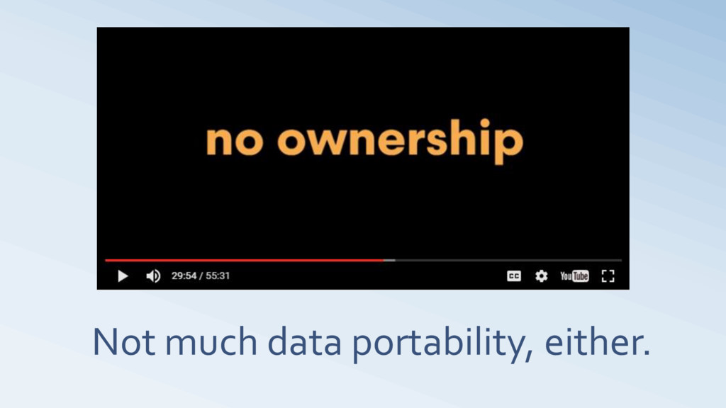 Not much data portability, either.