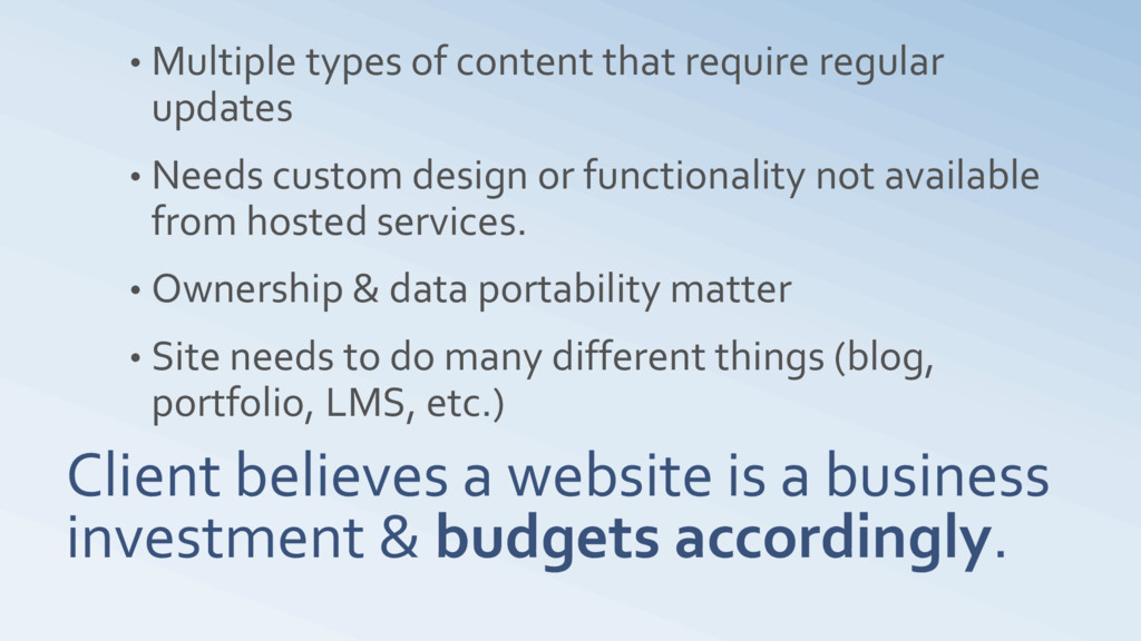 Client believes a website is a business investm...