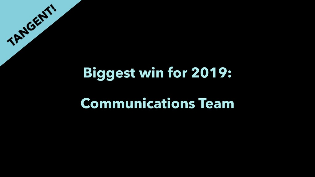 Biggest win for 2019: Communications Team TAN G...