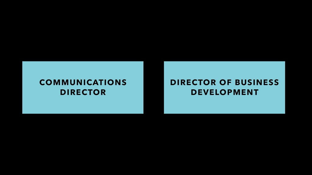 COMMUNICATIONS DIRECTOR DIRECTOR OF BUSINESS DE...