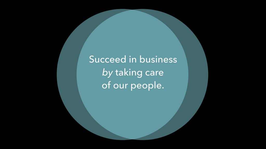 Succeed in business by taking care of our peopl...