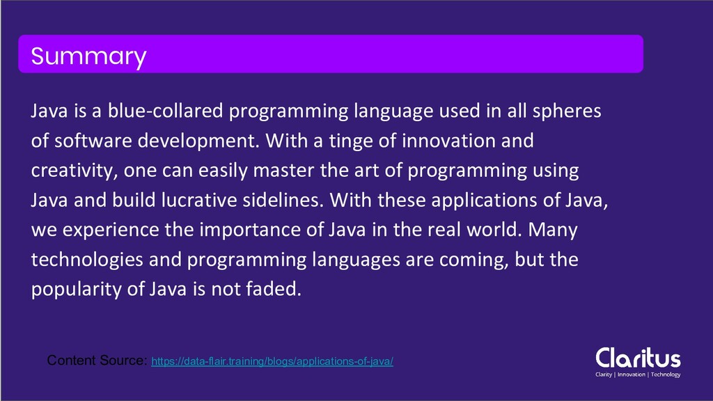 Summary Java is a blue-collared programming lan...