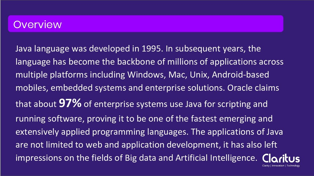 Java language was developed in 1995. In subsequ...