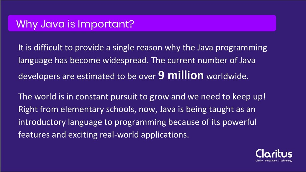 Why Java is Important? It is difficult to provi...